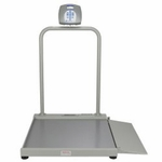Health O Meter Digital Wheelchair Scale LCD Display 1000 lbs. / 454 kg Gray 100-240V adapter included, 6 D batteries (not included)