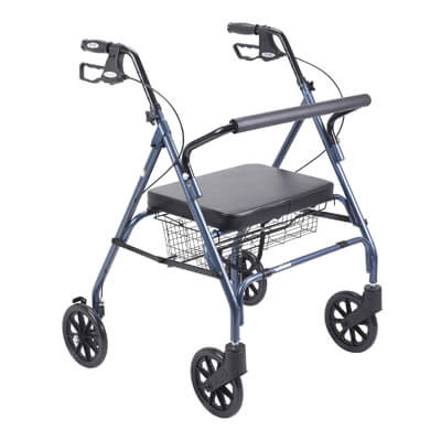 Drive Medical Heavy Duty Bariatric Blue Rollator Walker with Large Padded Seat Model 10215bl-1