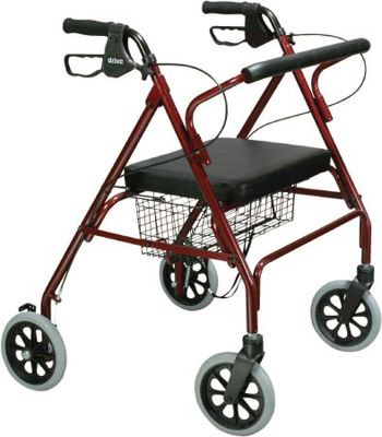 Drive Medical Go-Lite Bariatric Steel Rollator Red - 10215RD-1