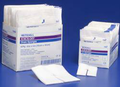 I.V. / Drain Split Dressing Excilon Poly / Rayon Blend 4 X 4 Inch Square Sterile