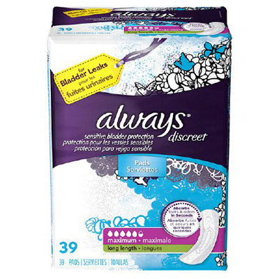 Incontinence Liner Always Discreet Maxi 39 Inch Length Heavy Absorbency DualLock Female Disposable