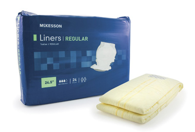 Incontinence Liner McKesson Regular 24-1/2 Inch Length Moderate Absorbency Polymer Unisex Disposable