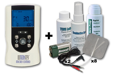 InTENSity Micro Combo TENS Unit and Micro Unit with AC Adapter Model DI9698, Plus Accessories Kit