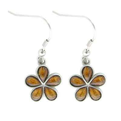 Island Sense Koa Wood FLower Earrings