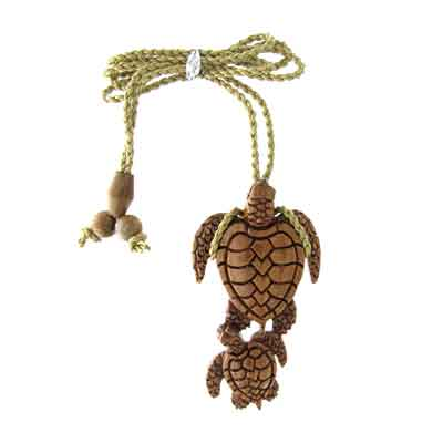 Island Sense Koa Wood Sea Turtles Necklace