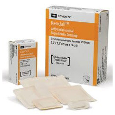 Kendall Antimicrobial Foam Dressing AMD 3-1/2 x 3-1/2 in Square Adhesive with Border Sterile