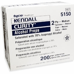 Kendall Curity Alcohol Prep Pads Medium 2-Ply - 200 Swabs