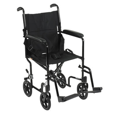 Drive Medical Lightweight Black Transport Wheelchair Model atc19-bk