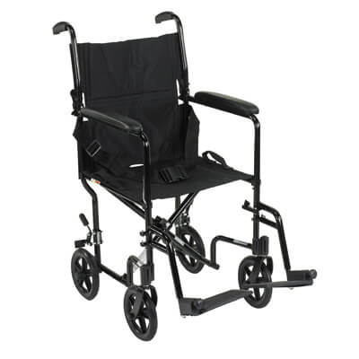 Drive Medical Lightweight Black Transport Wheelchair atc17-bk