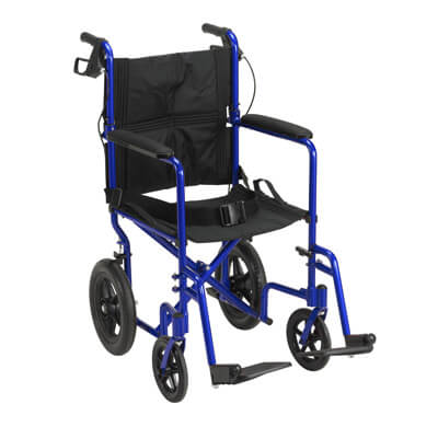 Drive Medical Lightweight Expedition Blue Transport Wheelchair with Hand Brakes Model exp19ltbl