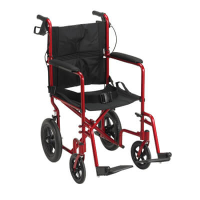 Drive Medical Lightweight Expedition Red Transport Wheelchair with Hand Brakes exp19ltrd