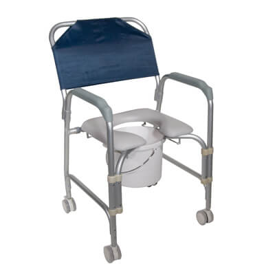 Drive Medical Lightweight Portable Shower Chair Commode with Casters Model 11114kd-1
