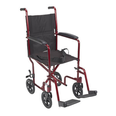 Drive Medical Lightweight Red Transport Wheelchair atc17-rd