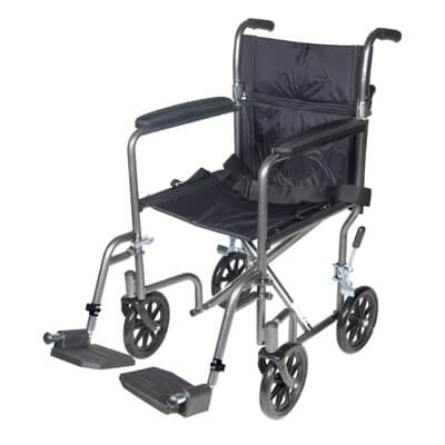 Drive Medical Lightweight Steel Transport Wheelchair with Fixed Full Arms Model tr39e-sv