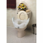 Maddak Raised Toilet Seat with Arms 11.5 in White 300 lbs