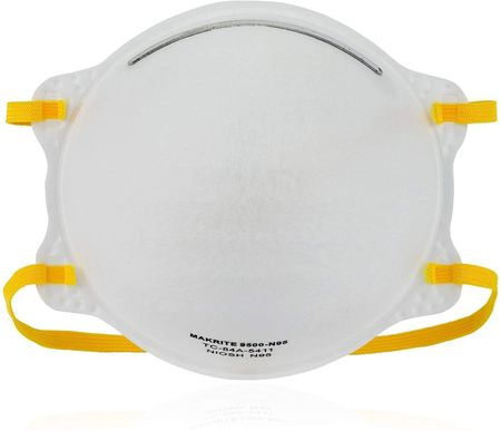 Makrite 9500-N95 Pre-Formed Cone Particulate Respirator Mask, M/L Size (Pack of 20 Masks)