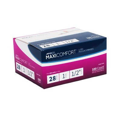 MaxiComfort Syringe 28 Gauge 1 cc 1/2 in 100 count by Aimsco