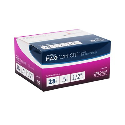 MaxiComfort Syringe 28 Gauge .5 cc 1/2 in 100 count by Aimsco