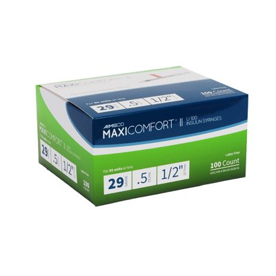 MaxiComfort Syringe 29 Gauge .5 cc 1/2 in 100 count by Aimsco
