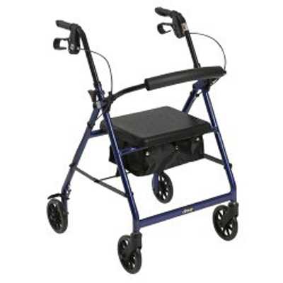 McKesson 4 Wheel Rollator 32 to 37 in Blue Folding Aluminum 32 to 37 Inch