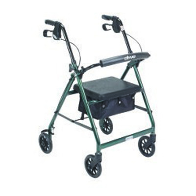 McKesson 4 Wheel Rollator 32 to 37 in Green Folding Aluminum 32 to 37 Inch