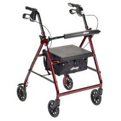 McKesson 4 Wheel Rollator 32 to 37 in Red Folding Aluminum 32 to 37 Inch