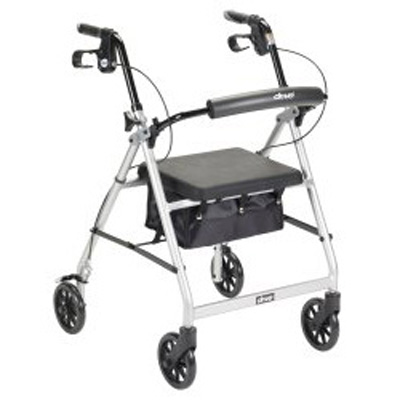 McKesson 4 Wheel Rollator 32 to 37 in Silver Folding Aluminum 32 to 37 Inch