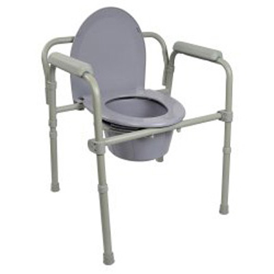 McKesson Commode Chair Fixed Arm Steel Frame Seat Lid Back 16.6 to 22.5 Inch