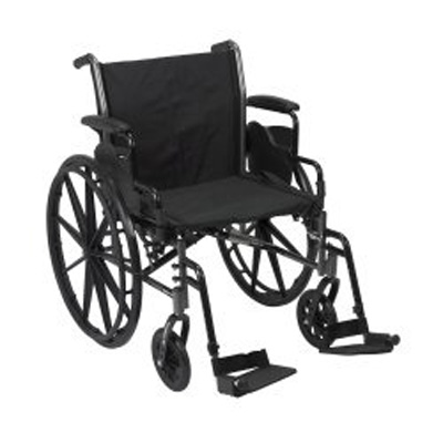 McKesson Lightweight Wheelchair Padded, Removable Mag Black 20 in 300 lbs Swing Foot