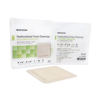 McKesson Silicone Foam Dressing 6 X 6 Inch Square Adhesive with Border Sterile
