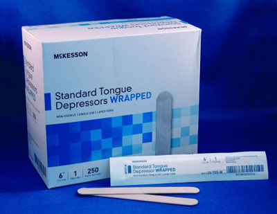 McKesson Tongue Depressor Senior 6 Inch Wood 17.5 mm Wide Blade - 24-705-W