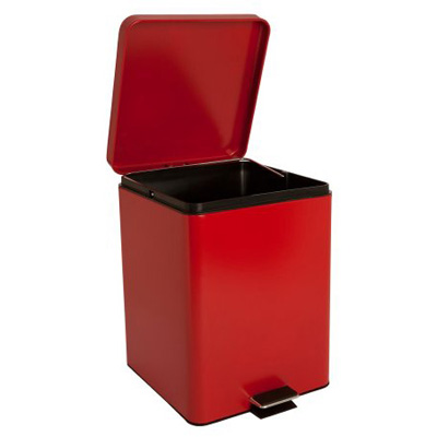 McKesson Trash Can with Plastic Liner 20 Quart Square Red Steel Step On