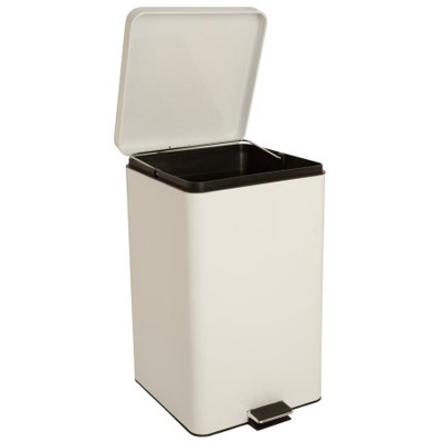 McKesson Trash Can with Plastic Liner 32 Quart Square White Steel Step On