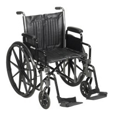 McKesson Wheelchair Padded, Removable Composite Black 20 in 350 lbs Swing Foot