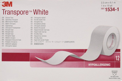 Medical Tape 3M Transpore White Water Resistant Plastic 1 Inch X 10 Yard White NonSterile