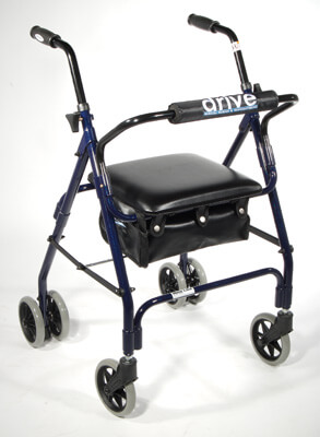 Drive Medical Winnie Mimi Lite Dark Blue Push Brake Rollator Walker 510