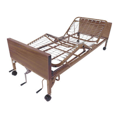 Drive Medical Multi Height Manual Hospital Bed with Full Rails and Innerspring Mattress 15003bv-pkg