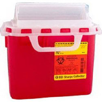 Multi-purpose Sharps Container 1-Piece 10.75H X 10.75W X 4D Inch 5.4 Quart Red Base Horizontal Entry Lid