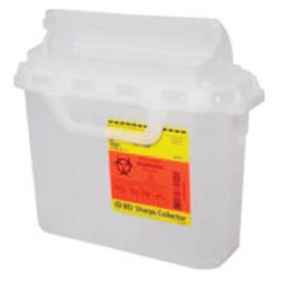 BD Multi-purpose Sharps Container 1-Piece 10.75H X 10.75W X 4D Inch 5.4 Quart Translucent White Base Horizontal Entry Lid - 305427 - Case of 12