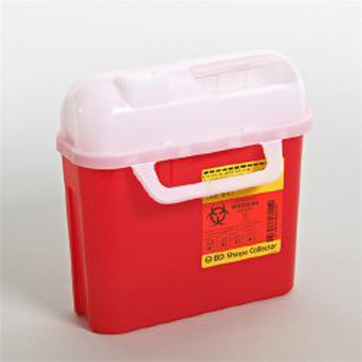 Multi-purpose Sharps Container 1-Piece 10.75H X 10.75W X 4D Inch 5 Quart Red Base Horizontal Entry Lid