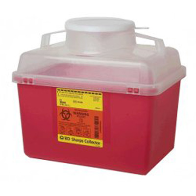 Multi-purpose Sharps Container 1-Piece 11.5H X 12.5W X 8.5D Inch 14 Quart Red Base Funnel Lid