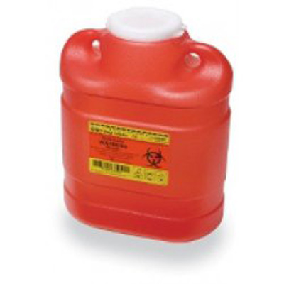 BD Multi-purpose Sharps Container 1-Piece 11.5H X 8.75W X 5.5D Inch 6.9 Quart Red Base Funnel Lid - 305489 - Case of 12