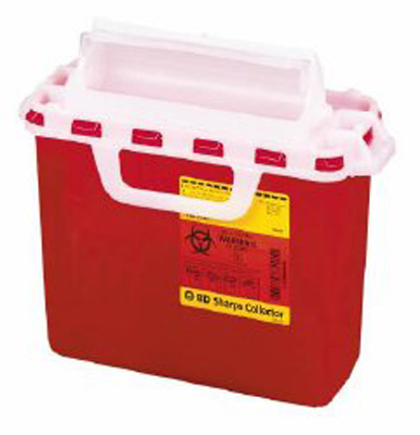 Multi-purpose Sharps Container 1-Piece 12H X 13.5W X 6D Inch 2 Gallon Red Base Horizontal Entry Lid