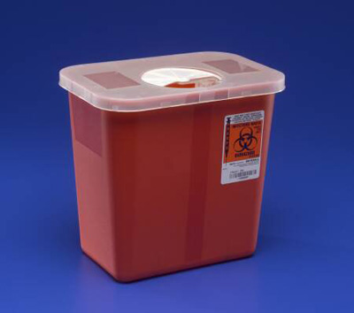 Covidien Multi-purpose Sharps Container 1-Piece 13.75H X 13.75W X 6D Inch 3 Gallon Translucent Base Hinged, Rotor Lid - 8527R - Case of 10