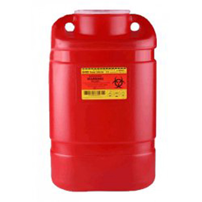 BD Multi-purpose Sharps Container 1-Piece 14H X 7.5W X 10.5D Inch 5 Gallon Red Base Funnel Lid - 305477 - Case of 8