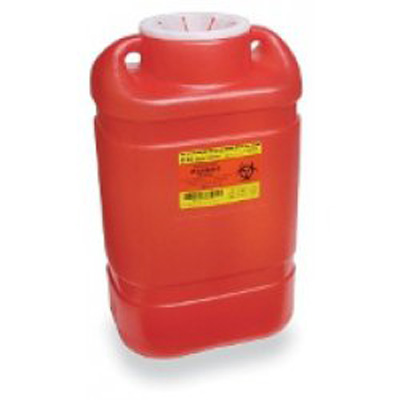 Multi-purpose Sharps Container 1-Piece 14H X 7.5W X 10.5D Inch 5 Gallon Red Base Vertical Entry Lid