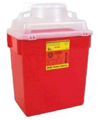 Multi-purpose Sharps Container 1-Piece 17.5H X 12.5W X 8.5D Inch 6 Gallon Red Base Funnel Lid