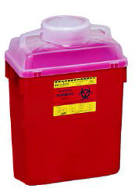 BD Multi-purpose Sharps Container 1-Piece 17.5H X 12.5W X 8.5D Inch 6 Gallon Red Base Vertical Entry Lid - 305457 - Case of 12