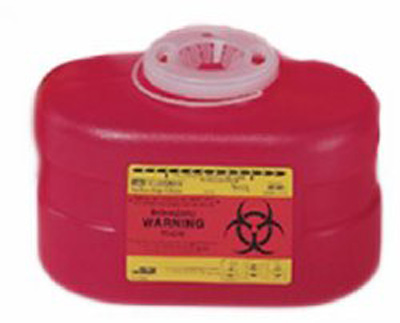 BD Multi-purpose Sharps Container 1-Piece 5.5H X 8.5W X 5D Inch 3.3 Quart Red Base Funnel Lid - 305488 - Case of 24
