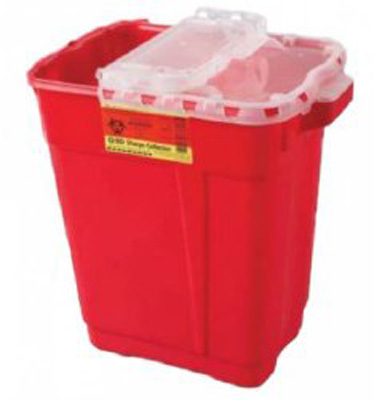 BD Multi-purpose Sharps Container 2-Piece 18.5H X 17.75W X 11.75D Inch 9 Gallon Red Base Hinged Lid - 305615 - Case of 8